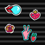Fashion Patches Set. Modern Pop Art Stickers. Heart,Lips, Hands,Rose,Strawberry. Vector Illustration. Stock Photos