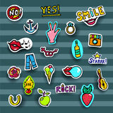Fashion Patches Set. Modern Pop Art Stickers. Rose,Lips, Hands,Jeans, Fire. Vector Illustration. EPS 10 Stock Photos