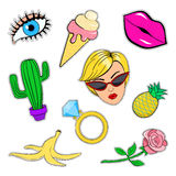 Fashion patches  set. Set of fashion patch badges, stickers, pins in cartoon 80-90s style: eye, lips, ice cream, cactus, face, ring with diamond, banana skin Royalty Free Stock Photography