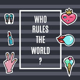Fashion Patches Set.Who Rules the world. Modern Pop Art Stickers. Lips, Hand,Heart. Vector Illustration. Eps 10 Stock Photos