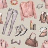 Fashion pattern. Fashion seamless pattern. Watercolor illustraton Stock Image