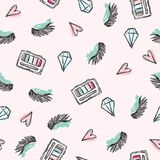 Fashion pattern with closed eyes crystal eye shadow and pink hearts. Light pink background. For textile, wallpaper, fabric etc vector illustration