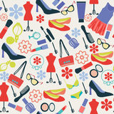 Fashion pattern cloth and accessories, beauty in  Flat style Stock Images