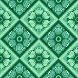 Fashion pattern with flowers in emerald color Royalty Free Stock Images