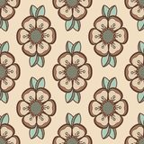 Fashion pattern with flowers in light retro color Stock Images