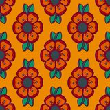 Fashion pattern with flowers in orange color Stock Images