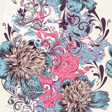 Fashion  pattern with flowers and ornament. In vintage style Stock Image