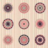 Fashion pattern with flowers in retro color Royalty Free Stock Image