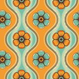 Fashion pattern with flowers in retro color Stock Photos