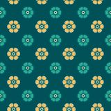 Fashion pattern with flowers in turquoise colors Stock Image
