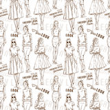 Fashion pattern. Trendy look girls Stock Photos