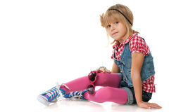 Fashion pensive little girl Royalty Free Stock Photos