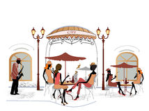 Fashion people in cafe royalty free illustration