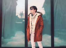 Fashion and people concept - handsome young man Stock Photos