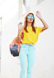 Fashion and people concept - stylish pretty blonde in sunglasses Royalty Free Stock Images