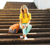 Fashion and people concept - stylish pretty girl Royalty Free Stock Images