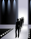 Fashion people. Female silhouettes on the fashion runway Royalty Free Stock Photography