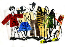 Fashion and people and style and clo. Fashionable abstract people and style and clothes and footwear and students Royalty Free Illustration