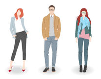 Fashion people. Young fashion boy and two pretty girls vector illustration