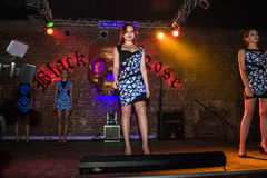 Fashion performance Art Chaos in night club Black Rose in Kirov Royalty Free Stock Photography