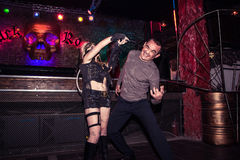 Fashion performance Art Chaos in night club Black Rose in Kirov Stock Photo