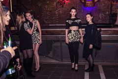 Fashion performance Art Chaos in night club Black Rose in Kirov Stock Images