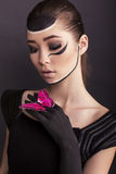 Fashion photo of beautiful asian girl with painted face Royalty Free Stock Image