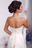 Fashion photo of beautiful elegant bride in wedding dress Stock Image