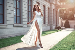 Fashion  photo of beautiful elegant woman with dark hair wearing. Luxurious beige fluttering dress walking on the street Royalty Free Stock Photos