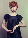 Beautiful lady in black dress Stock Images