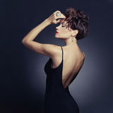 Elegant lady in evening dress stock images