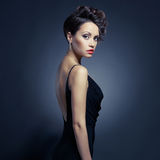 Elegant lady in evening dress stock photography