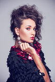 Fashion photo of beautiful lady in elegant evening dress. Royalty Free Stock Photo