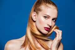 Fashion photo of beautiful model with ponytail. Royalty Free Stock Photos