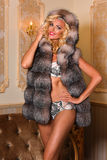 Fashion photo of beautiful sexy woman in lingerie and fur coat posing in a luxury interior. Stock Photo