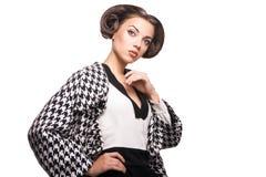 Fashion photo of beautiful stylish lady isolated Royalty Free Stock Photo
