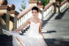 Fashion photo of beautiful woman with dark hair in luxurious wedding dress royalty free stock photography