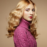 Fashion photo of beautiful woman in sweater Royalty Free Stock Photos