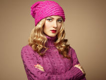 Fashion photo of beautiful woman in sweater Royalty Free Stock Photography