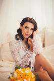 Fashion photo of beautiful young woman in room Royalty Free Stock Image
