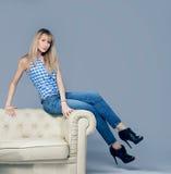 Fashion photo of  blonde woman. Royalty Free Stock Photos