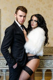 Fashion photo romance of sexy lovers couple Stock Photos
