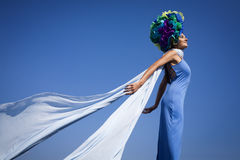 Fashion photo by the sea Royalty Free Stock Photography