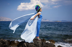 Fashion photo by the sea Royalty Free Stock Photos