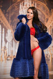 Fashion photo of sexy brunette woman in lace red lingerie and luxury fur coat Royalty Free Stock Photo
