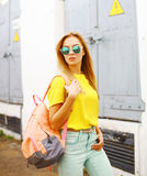 Fashion photo stylish hipster woman in sunglasses posing Stock Image