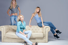 Fashion photo of three blonde woman. Royalty Free Stock Photography