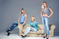 Fashion photo of three blonde woman. Royalty Free Stock Photo