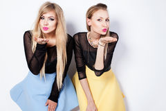 Fashion photo of two blonde girls. Stock Photo