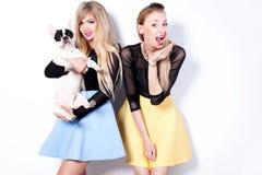 Fashion photo of two blonde girls. Stock Photo
